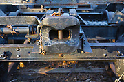 Link and pin coupler of a log truck on display at Loon Mountain in Lincoln, New Hampshire, USA. Log trucks were used to carry logs on the East Branch & Lincoln Logging Railroad.