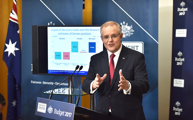 Australian Treasurer Scott Morrison talks to the media during a press conference in the Budget Lockup at Parliament House in Canberra, Australia, on Tuesday, May 9, 2017.  Photographer: Mark Graham/Bloomberg