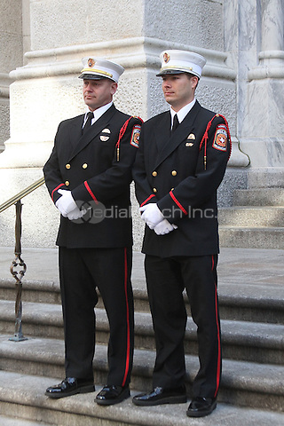 NEW YORK, NY - MARCH 7:  Members of the Euless Fire Department Honor Guard at the memorial service for slain Euless police officer and ex-NYPD officer David Hofer  held at St. Patrick's Cathedral in New York, New York on March 7, 2016. Photo Credit: Rainmaker Photo/MediaPunch
