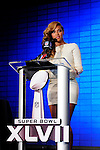1/31/13 New Orleans LA.-NFL Super Bowl XLV11 NFL and Pepsi Half Time Show Press Conference With Beyonce. She opened the press conference with a rousing rendition of The Star Spangled Banner and then answered some questions from the world press.Photo©Suzi Altman