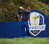 25.09.2014. Gleneagles, Auchterarder, Perthshire, Scotland.  The Ryder Cup.  Phil Mickelson [USA] on the 18th during his practise round.