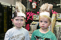 16/7/2010. Jedward fans Jake O Loughlin 4 and Marcus Scully 4 from Rathfarnum are pictured at the launch of the new Jedward album at HMV Dundrum. Picture James Horan/Collins Photos