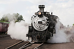 Cumbres & Toltec Scenic Railroad No. 484 (K-36) engine winds up the narrow-guage track eastbound to Antonito, Colo...Chama Station--No. 484 belches steam and is ready to roll