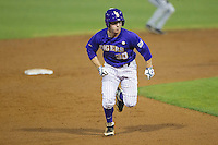 LSU Tigers shortstop Alex Bregman #30 runs to third base against the Auburn Tigers in the NCAA baseball game on March 23, 2013 at Alex Box Stadium in Baton Rouge, Louisiana. LSU defeated Auburn 5-1. (Andrew Woolley/Four Seam Images).