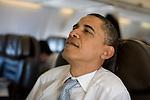 Senator Barack Obama, Democratic presidential candidate, aboard his campaign plane en route to Omaha, Nebraska, February, 7, 2008