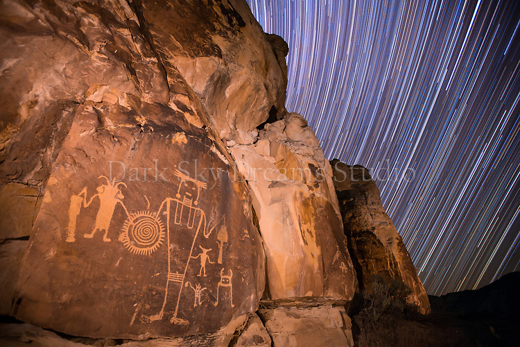 Star Trails Over McGee Springs Petroglyphs
