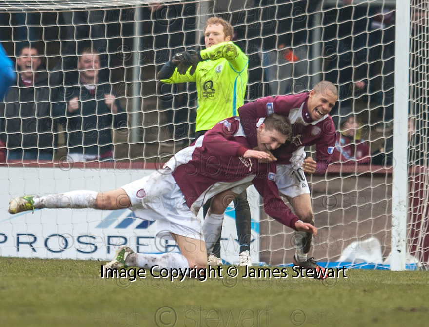 Arbroath's Euan Smith is congratulated by Lee Sibanda (10) after he scores the opener.