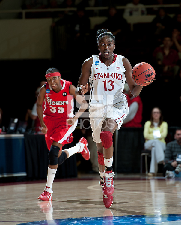 STANFORD, CA - March 21, 2011: Stanford Cardinal's Chiney Ogwumike during Stanford's 75-51 win over St. John's during the second round of the NCAA tournament at Maples Pavilion in Stanford, California.