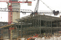 2003 File Photo, Montreal (qc) CANADA<br /> <br /> he new international jetty construction site at Montréal-<br /> Pierre Elliott Trudeau International Airport (YUL)<br /> <br /> (Mandatory Credit: Photo by  - Images Distribution (©) Copyright 2003 by Images Distribution