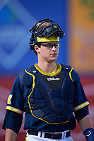 Michigan Wolverines catcher Dominic Jamett (41) during the second game of a doubleheader against the Canisius College Golden Griffins on February 20, 2016 at Tradition Field in St. Lucie, Florida.  Michigan defeated Canisius 3-0.  (Mike Janes/Four Seam Images)