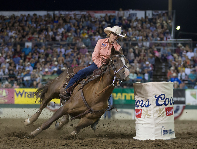 Jenna Beaver competes in the Barrel Racing event during the Reno Rodeo on Sunday, June 23, 2019.