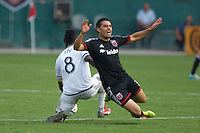 Alvaro Saborio marked his debut with United with the opening goal of a stunning 3-2 come-from-behind win at sticky RFK Stadium in front of a season-high 19,125 fans. The victory pushed The Black-and-Red's lead in the Eastern Conference to seven points over second place Columbus. Photo: Martin Fernandez
