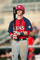 Conor Keniry (11) of the Hagerstown Suns at bat against the Kannapolis Intimidators at Intimidators Stadium on July 18, 2015 in Kannapolis, North Carolina.  The Intimidators defeated the Suns 1-0.  (Brian Westerholt/Four Seam Images)