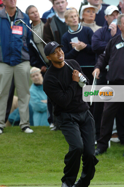 THOMASTOWN, IRELAND. Tiger Woods of the USA leans over in pain on the tee box on the 6th hole during the American Express Championship at the Mount Juliet Golf Club on September 29, 2004 in Thomastown, Ireland . 30 SEPTEMBER 2004.Photo AFP/NEWSFILE/FRAN CAFFREY..(Photo credit should read FRAN CAFFREY/NEWSFILE/AFP)...This Picture has been sent you under the condtions enclosed by:.Newsfile Ltd..the Studio,.Millmount Abbey,.Drogheda,.Co Meath..Ireland..Tel: +353(0)41-9871240.Fax: +353(0)41-9871260.GSM: +353(0)86-2500958.email: pictures@newsfile.ie.www.newsfile.ie.FTP: 193.120.102.198..This picture is from Fran Caffrey@newsfile.ie