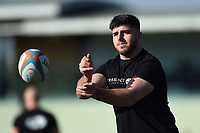 Matt Cornish of Ealing Trailfinders passes the ball during the pre-match warm-up. RFU Championship Cup match, between Ealing Trailfinders and Cornish Pirates on February 24, 2019 at the Trailfinders Sports Ground in London, England. Photo by: Patrick Khachfe / Onside Images