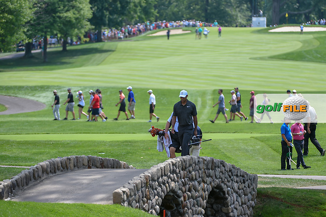 Tiger Woods (USA) walks across the bridge on 3 during 2nd round of the World Golf Championships - Bridgestone Invitational, at the Firestone Country Club, Akron, Ohio. 8/3/2018.<br /> Picture: Golffile | Ken Murray<br /> <br /> <br /> All photo usage must carry mandatory copyright credit (© Golffile | Ken Murray)