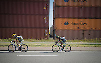 Robert Retschke (DEU/Team Kuota-Lotto) &amp; Aviv Yechezkel (ISR/Cycling Academy) escaping from the peloton<br /> <br /> 91st Schaal Sels 2016