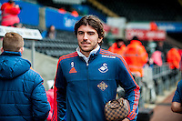 Alberto Paloschi of Swansea City arrives at the Liberty Stadium the Barclays Premier League match between Swansea City and Southampton  played at the Liberty Stadium, Swansea  on February 13th 2016
