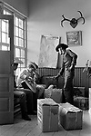 American cowboys 1960s USA Greyhound bus station border Texas and Mexico.