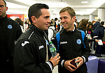 St Johnstone v Eskisehirspor....18.07.12  Uefa Cup Qualifyer.Sean Higgins and Chris Millar checking in at Edinburgh Airport.Picture by Graeme Hart..Copyright Perthshire Picture Agency.Tel: 01738 623350  Mobile: 07990 594431