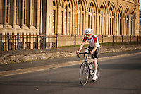 UK Weather: Aberystwyth, Ceredigion, West Wales <br />A cyclist by Aberystwyth promenade.