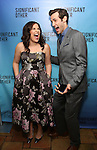 """Lindsay Mendez and John Behlmann attend the Broadway Opening Night performance after party for """"Significant Other"""" at the Redeye Grill on March 2, 2017 in New York City."""