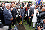 DURBAN - 15 November 2016 - KwaZulu-Natal premier Willies Mchunu (grey suit) together with eThekwini Metro Municipal mayor Zandile Gumede dig the spade into the ground during a sod-turning ceremony at Durban's Addington Beach where a monument is set to be built to commemorate the 1860 arrival of Indians in South Africa. They were brought into the country as indentured labourers to work on the sugar cane fields of the then Natal Colony. Today there are an estimated 1.3 million South Africans of Indian descent, most of whom live in the greater Durban area. Picture Allied Picture Press/APP