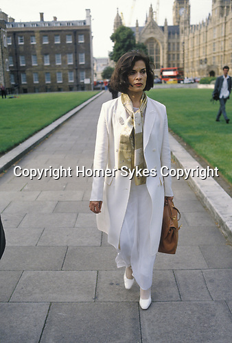 Bianca Jagger on her way to speak at the House of Lords. London 1990s