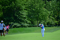 Haru Nomura (JPN) hits her approach shot on 1 during Saturday's third round of the 72nd U.S. Women's Open Championship, at Trump National Golf Club, Bedminster, New Jersey. 7/15/2017.<br /> Picture: Golffile | Ken Murray<br /> <br /> <br /> All photo usage must carry mandatory copyright credit (&copy; Golffile | Ken Murray)