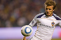 LA Galaxy midfielder David Beckham first game back after a long injury layoff moves to the ball. The LA Galaxy defeated the Columbus Crew 3-1 at Home Depot Center stadium in Carson, California on Saturday Sept 11, 2010.