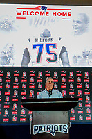 August 9, 2017: New England Patriots head coach Bill Belichick, speaks to the media at the retirement announcement of Vince Wilfork, held at the Optum Field Lounge, in Gillette Stadium, in Foxborough, Mass.