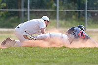 25 April 2010: Luc Piquet of Rouen slides safely into third base during game 1/week 3 of the French Elite season won 12-4 by Rouen over the PUC, at the Pershing Stadium in Vincennes, near Paris, France.