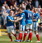 Rangers players celebrate as all three points head down the road to Govan