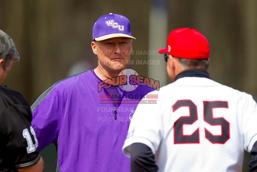 Western Carolina Catamounts head coach Bobby Moranda (25) prior to the start of the game against the Davidson Wildcats at Wilson Field on March 10, 2013 in Davidson, North Carolina.  The Catamounts defeated the Wildcats 5-2.  (Brian Westerholt/Four Seam Images)