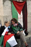 Roma, 15 Maggio 2012.I giovani palestinesi in Italia organizzano un corteo da Piazza Esedra a Piazza Esquilino per ricordare la Nakba , la catastrofe, palestinese del 1948