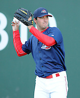 Pitcher Brandon Workman (32) of the Greenville Drive, Class A affiliate of the Boston Red Sox, during the team's first workout on April 5, 2011, at Fluor Field at the West End in Greenville, S.C. Workman, out of the University of Texas,  was Boston's No. 2 pick in the 2010 Major League Baseball First-Year Player Draft. He was the No. 57 pick overall. Photo by: Tom Priddy / Four Seam Images
