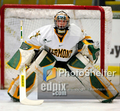 "5 January 2007: University of Vermont goaltender Jeff Hill (1) from Cranston, RI, warms up prior to a Hockey East matchup against the University of New Hampshire Wildcats at Gutterson Fieldhouse in Burlington, Vermont. The UNH Wildcats defeated the UVM Catamounts 7-1 in front of a record setting 48th consecutive sellout at ""the Gut""...Mandatory Photo Credit: Ed Wolfstein Photo.<br />"