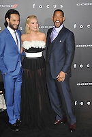Will Smith, Margot Robbie &amp; Rodrigo Santoro (left) at the Los Angeles premiere of their movie &quot;Focus&quot; at the TCL Chinese Theatre, Hollywood.<br /> February 24, 2015  Los Angeles, CA<br /> Picture: Paul Smith / Featureflash