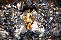 The figure of justice. Baroque lattice wraught iron work  work of Henrik Fazola (1730-99), County Hall, Eger, Hungary