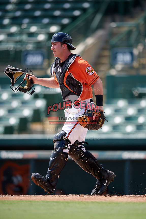 Baltimore Orioles catcher Ben Breazeale (79) during an Instructional League game against the Pittsburgh Pirates on September 27, 2017 at Ed Smith Stadium in Sarasota, Florida.  (Mike Janes/Four Seam Images)