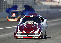 Feb 7, 2020; Pomona, CA, USA; The parachutes on the car of NHRA nostalgia funny car driver Dan Horan fail to open prior to crashing into the sand trap catch net containment system during qualifying for the Winternationals at Auto Club Raceway at Pomona. Horan was uninjured in the incident. Mandatory Credit: Mark J. Rebilas-USA TODAY Sports