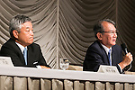 (L to R) President and CEO Naotoshi Okada and Chairman Tsuneo Kita both from the Japanese news organization Nikkei Inc. speak during a press conference about the acquisition of the British newspaper Financial Times Group on July 24, 2015, Tokyo, Japan. Nikkei's Chairman Tsuneo Kita has promised to respect the Financial Times' editorial independence after agreeing to acquire all shares in Financial Times Group for 844 million pounds (about $1.3 billion) from U.K. education company Pearson. (Photo by Rodrigo Reyes Marin/AFLO)