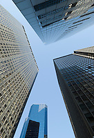 AVAILABLE FOR LICENSING FROM GETTY IMAGES.  Please go to www.gettyimages.com and search for image # 129908288.<br /> <br /> Upward View of Office Buildings in Lower Manhattan's Financial District, New York City, New York State, USA