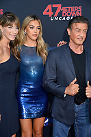 """LOS ANGELES, USA. August 14, 2019: Jennifer Flavin, Sistine Stallone & Sylvester Stallone at the premiere of """"47 Meters Down: Uncaged"""" at the Regency Village Theatre.<br /> Picture: Paul Smith/Featureflash"""