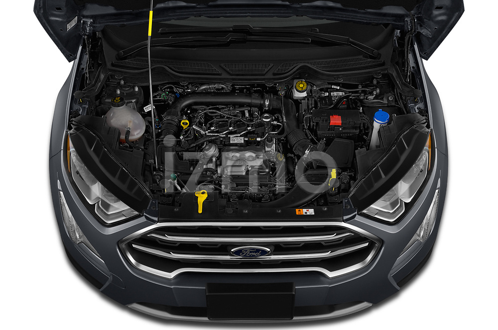 Car stock 2018 Ford Ecosport Titanium 5 Door SUV engine high angle detail view