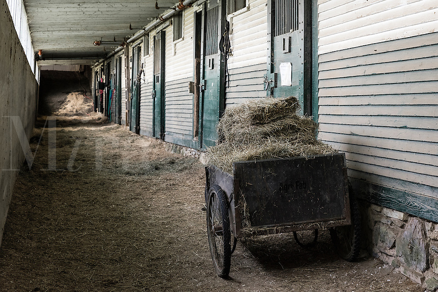 Hay cart outside stable stalls, Morgan Horse Farm, Weybridge, Vermont, USA.