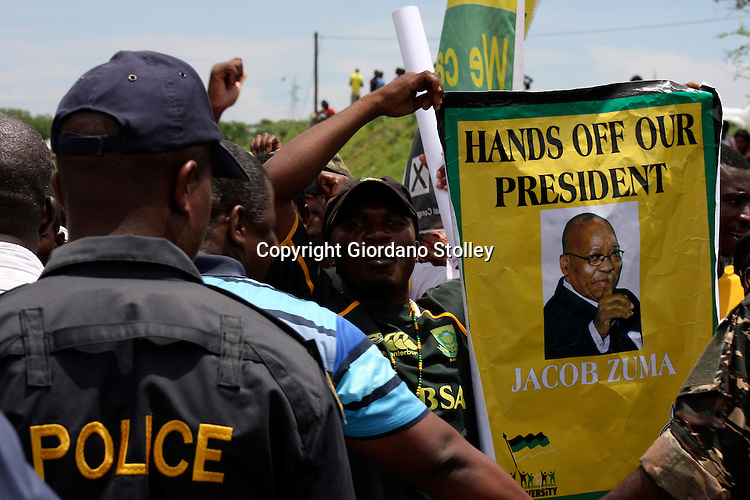 NKANDLA - 4 November 2012 - Stopped by police this supporter shows his support for President