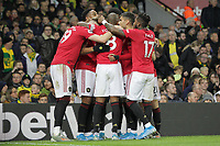 Manchester United celebrate after Anthony Martial (2nd L) scored to make it 3-0 during the Premier League match between Norwich City and Manchester United at Carrow Road on October 27th 2019 in Norwich, England. (Photo by Matt Bradshaw/phcimages.com)<br /> Foto PHC/Insidefoto <br /> ITALY ONLY