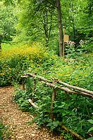 Walkway into the woodlands garden at the University of Minnesota Landscape Arboretum.