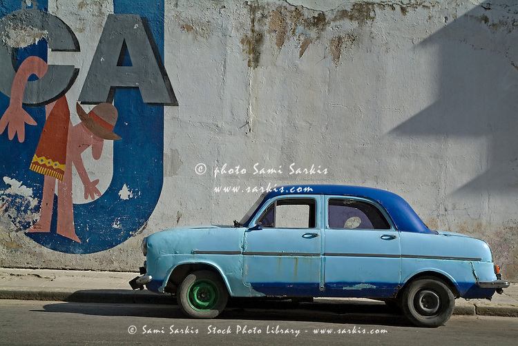 Very old car parked in the streets of Havana, Cuba.
